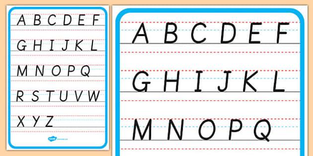 Cursive Alphabet Letter Formation Poster Upper Case - cursive, alphabet, letter formation, poster, display, upper case