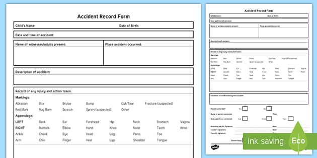 Accident Record with Description Form - accident, incident, injury, childminders, nursery, preschool, admin, record keeping, forms, paperwor