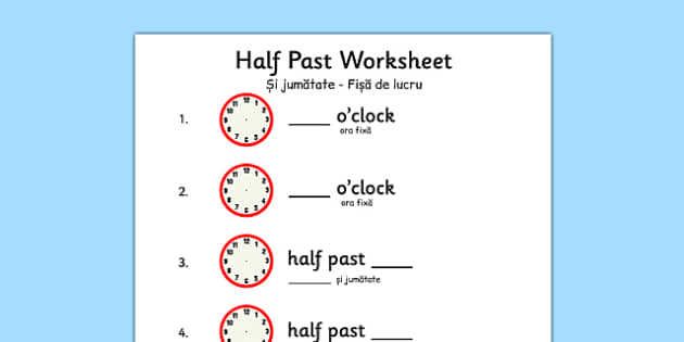 Half Past Worksheet Romanian Translation - romanian, half past, worksheet, half, past, time