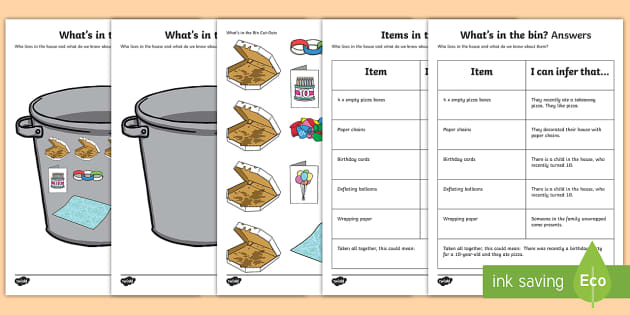 What's in the Bin? (3) Inferences Activity Sheet - inferences, autism, making links, receptive language, ASD, Asperger's, worksheet