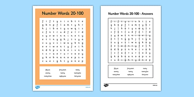 Number Words 20 to 100 Word Search - number words, number