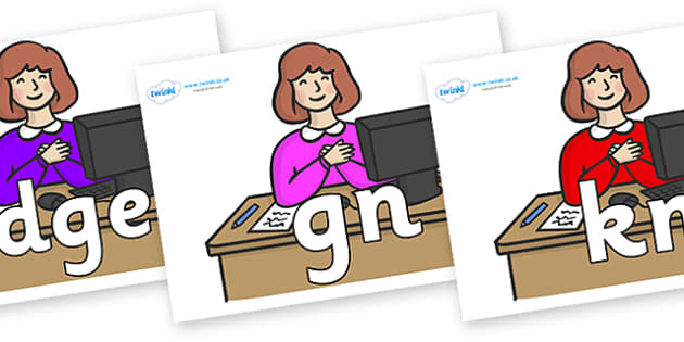 Silent Letters on Receptionists - Silent Letters, silent letter, letter blend, consonant, consonants, digraph, trigraph, A-Z letters, literacy, alphabet, letters, alternative sounds