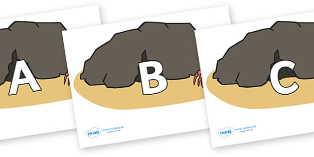 A-Z Alphabet on Caves - A-Z, A4, display, Alphabet frieze, Display letters, Letter posters, A-Z letters, Alphabet flashcards