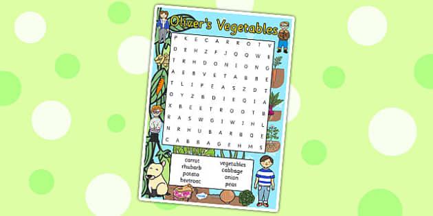 Oliver's Vegetables Wordsearch - Oliver's vegetables, wordsearch