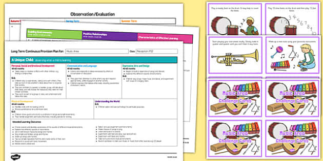 Music Area Editable Continuous Provision Plan and Challenge Cards Pack Reception FS2