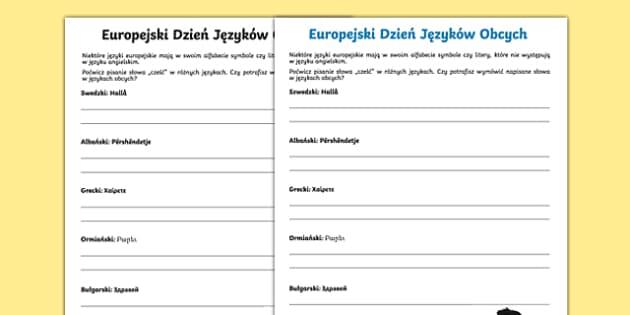 Karta Cześć w różnych językach Europejski Dzień Języków po polsku, worksheet