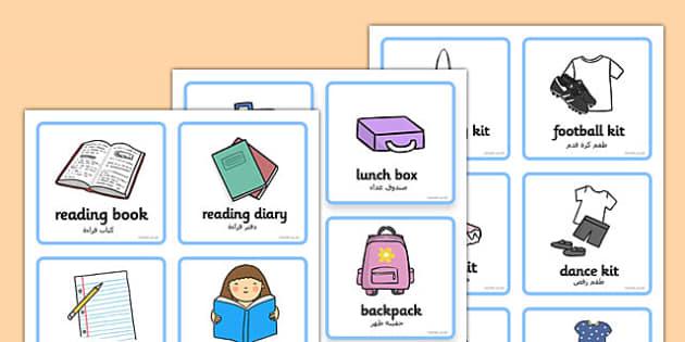 SEN Communication Cards Things to Remember Girl Arabic Translation
