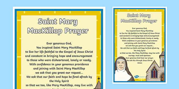 Saint Mary MacKillop Prayer A4 Display Poster-Australia