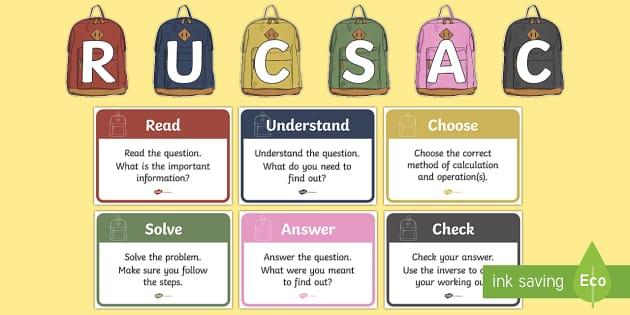 RUCSAC Display Posters - RUCSAC display posters, RUCSAC, display, poster, sign, rucsac, read, understand, choose, solve, answer, check
