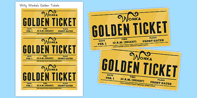 Golden Tickets To Support Teaching On Charlie And The