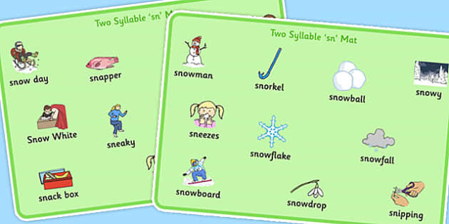 Two Syllable 'SN' Word Mats - sn sound, syllable, word mats, sound
