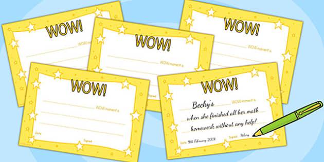 WOW Moment Parent Slips - wow, parents, certificates, awards
