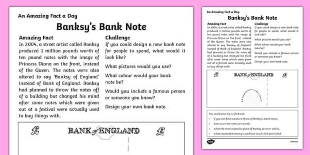 Banksy's Bank Note Activity Sheet, worksheet