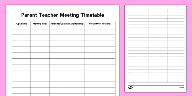 ROI Parent Teacher Meeting Timetable Checklist-Irish