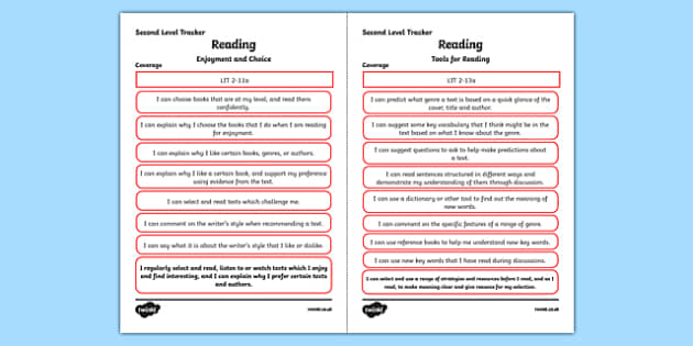 CfE Literacy and English (Reading) Second Level Child Friendly Tracking