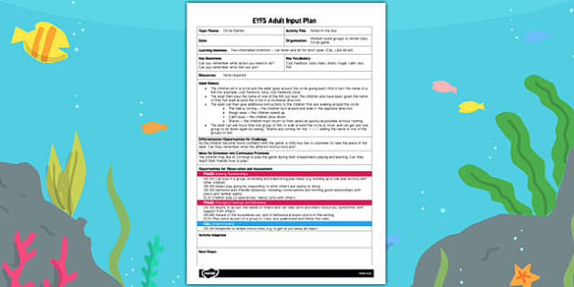 Fishes in the Sea EYFS Adult Input Plan - fishes, input plan