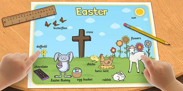 Easter Scene Word Mat - easter scene, word mat, word, mat, easter