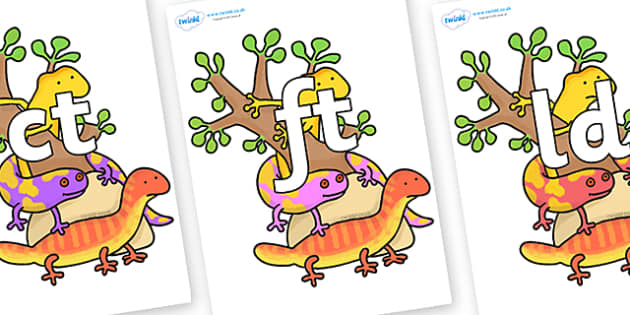 Final Letter Blends on Reptiles to Support Teaching on The Great Pet Sale - Final Letters, final letter, letter blend, letter blends, consonant, consonants, digraph, trigraph, literacy, alphabet, letters, foundation stage literacy