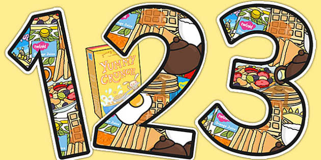 Breakfast Club Themed A4 Display Numbers - breakfast club, display