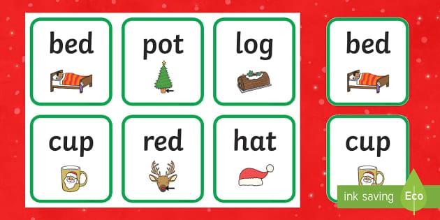 Christmas CVC Words Flashcards
