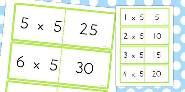 5 Times Table Cards - australia, times table, times tables, cards, 5, times