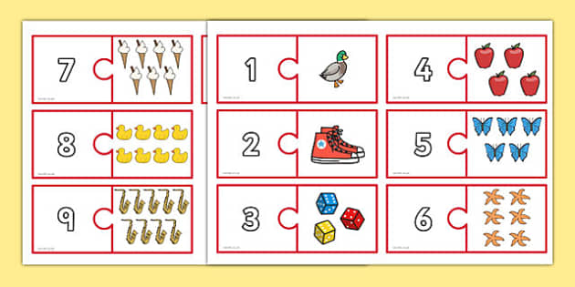 Number and Picture Matching Jigsaw to 10 - number, picture, matching, jigsaw