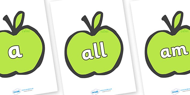 Foundation Stage 2 Keywords on Apples - FS2, CLL, keywords, Communication language and literacy,  Display, Key words, high frequency words, foundation stage literacy, DfES Letters and Sounds, Letters and Sounds, spelling