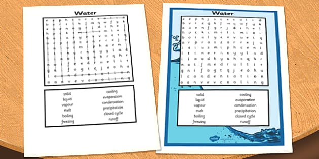 Water Wordsearch - water wordsearch, water, wordsearch, word