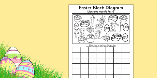 Easter Block Diagram Activity Sheet Romanian Translation - romanian, graphs, record, activities, worksheet