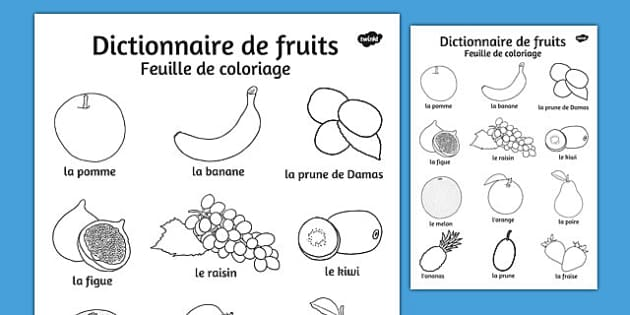 Dictionnaire de fruits Feuille de coloriage French - french, fruit, dictionary, colouring, sheet, colour