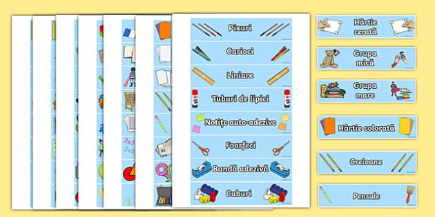 Materiale necesare în clasă - Etichete