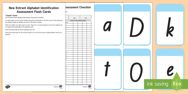 New Entrant Alphabet Identification Assessment Flashcards