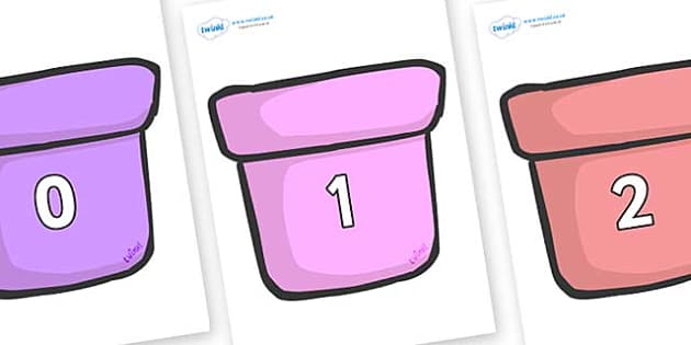 Numbers 0-31 on Plant Pots - 0-31, foundation stage numeracy, Number recognition, Number flashcards, counting, number frieze, Display numbers, number posters