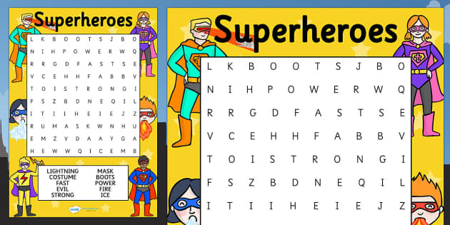 Superhero Themed Differentiated Wordsearch - superheroes, games