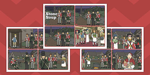 Stone Soup Story Sequencing Cards - stone soup, sequencing, cards