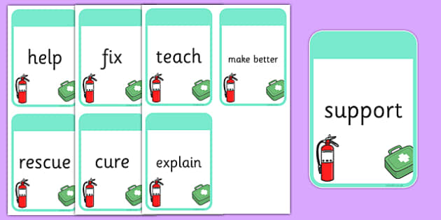 People Who Help Us Themed Verb Action Cards - verb action cards, verb, action, activity, cards, people who help us