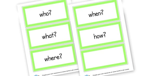 Question cards - Question Words Primary Resources, question, interrogative, words