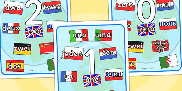 Numbers 0 20 Mixed Languages Display Posters - 0-20, posters