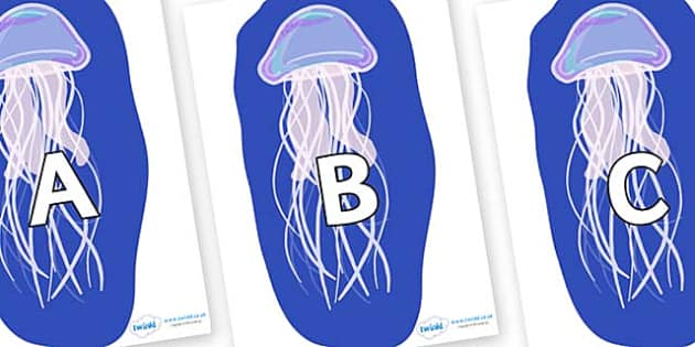 A-Z Alphabet on Jellyfish - A-Z, A4, display, Alphabet frieze, Display letters, Letter posters, A-Z letters, Alphabet flashcards