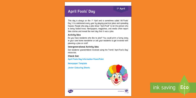 April Fool's Day Adult Guidance - Calendar Planning April 2017, Activity Coordinators, Support, Planning, Elderly Care, Care Homes, Ap