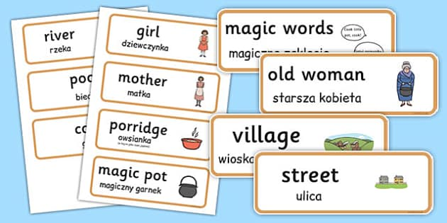 The Magic Porridge Pot Word Cards Polish Translation - polish, magic porridge pot, word cards