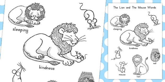 The Lion and the Mouse Words Colouring Sheet - australia, colour