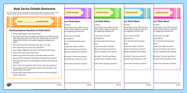 Book Saving Editable Bookmarks