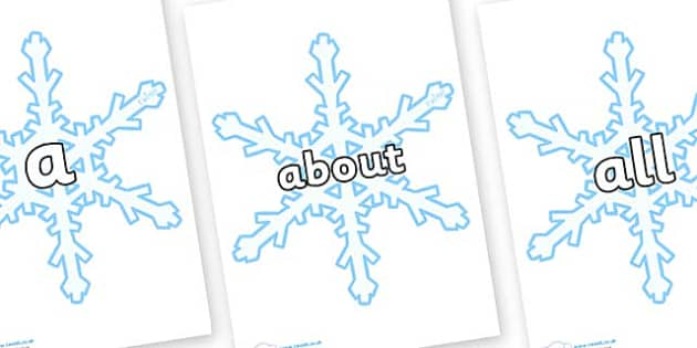 100 High Frequency Words on Snowflakes (New) - High frequency words, hfw, DfES Letters and Sounds, Letters and Sounds, display words