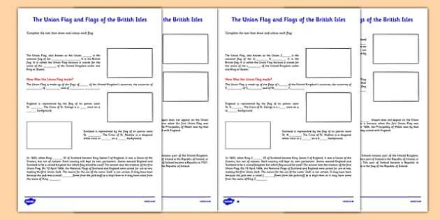 The Union Flag and Flags of the British Isles Activity Sheet Second - cfe, union flag, british isles, activity, worksheet