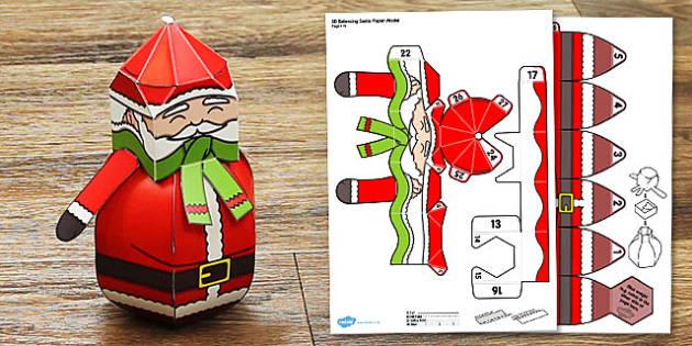 3D Balancing Santa Paper Model - 3d, balancing, santa, paper, model, craft, winter, christmas
