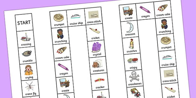 Two Syllable CR Board Game - two syllable, cr, board game, board, game, sound, cr sound