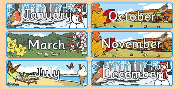 Months of the Year With Seasons Theme Display Posters - months, year, display