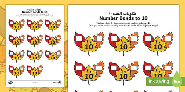 Autumn Leaf Number Bonds to 10 Activity Sheet Arabic Translation-Arabic-translation