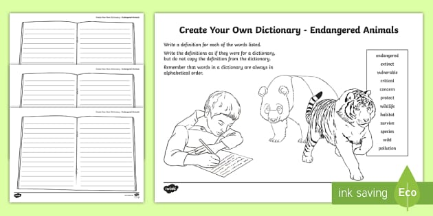 Endangered Animals Key Vocabulary Create Your Own Dictionary - Vocabulary Development, reading for information, ,Scottish